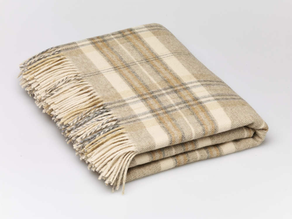 wolldecke beige kariert heather check aus merinowolle. Black Bedroom Furniture Sets. Home Design Ideas