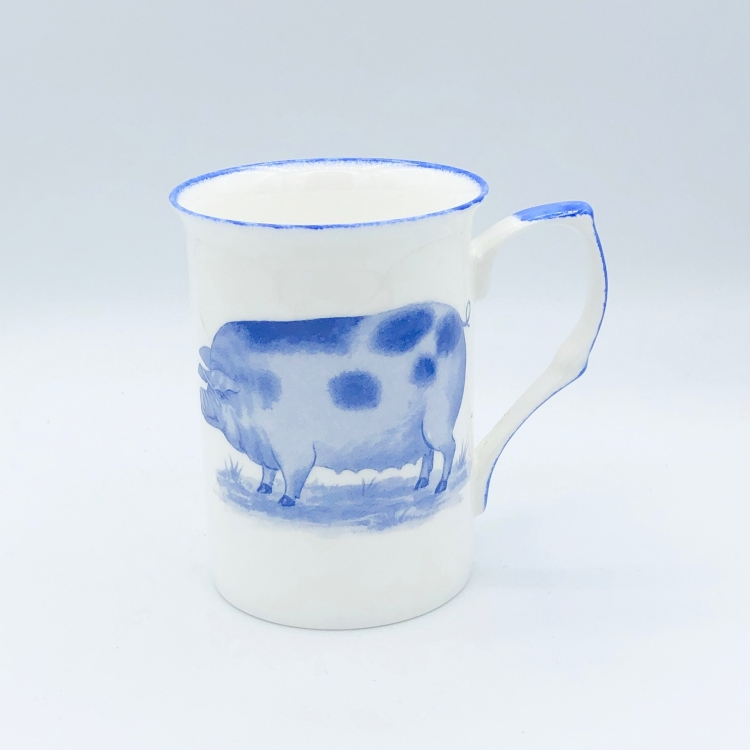 tasse becher schwein blau blue farmyard geschirr england. Black Bedroom Furniture Sets. Home Design Ideas