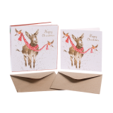 Kartenset Christmas ESEL All wrapped up von Wrendale Designs aus England