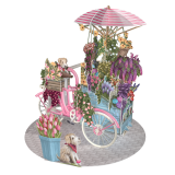 3 D Karte FLOWER SELLER BICYCLE - Blumenfahrrad