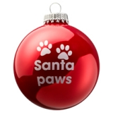 Weihnachtskugel Santa Paws rot