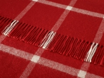 Decke Karo Windowpane Red Check rot aus 100% Wolle ( Merinowolle )